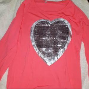 HOT PINK - Blingy heart, Long Sleeve Thin Top